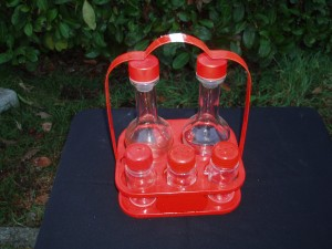 set per olio aceto sale e pepe rosso