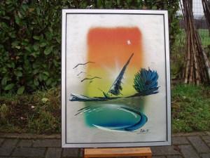 dipinto stilizzato barca a vela