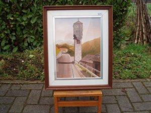 dipinto paesaggio con campanile