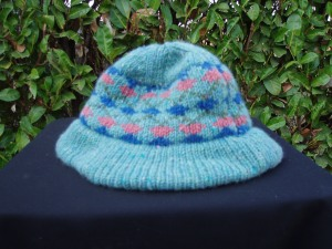 berretto donna in lana azzurra