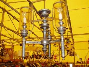 lampadario vetro e ottone