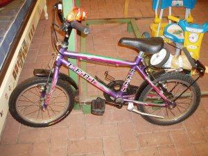 bicicletta bimbo blu con rotelle