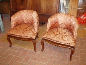poltroncine rosse da camera anni '60