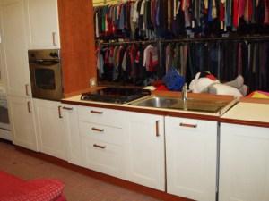 cucina linea 300+90 cm bianca e marrone