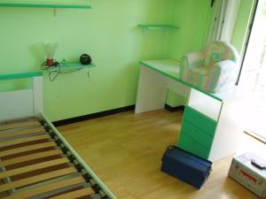 scrivania bianca e verde della cameretta