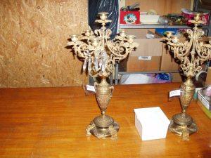 coppia candelabri antichi in ottone
