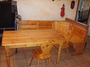 tavolo massello con giropanca taverna e sedie