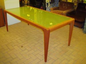 tavolo sala in ciliegio e vetro opaco
