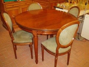 tavolo rotondo con 4 sedie 120 cm diametro