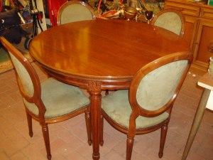 tavolo sala con 4 sedie 120 cm diametro