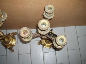 candelabro con 4 fiamme in bronzo dorato